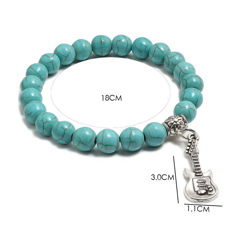 Mode naturel violon pendentif perlé Bracelet Turquoises de lave Chakra hommes prière perles Bracelet bijoux hommes femmes livraison directe