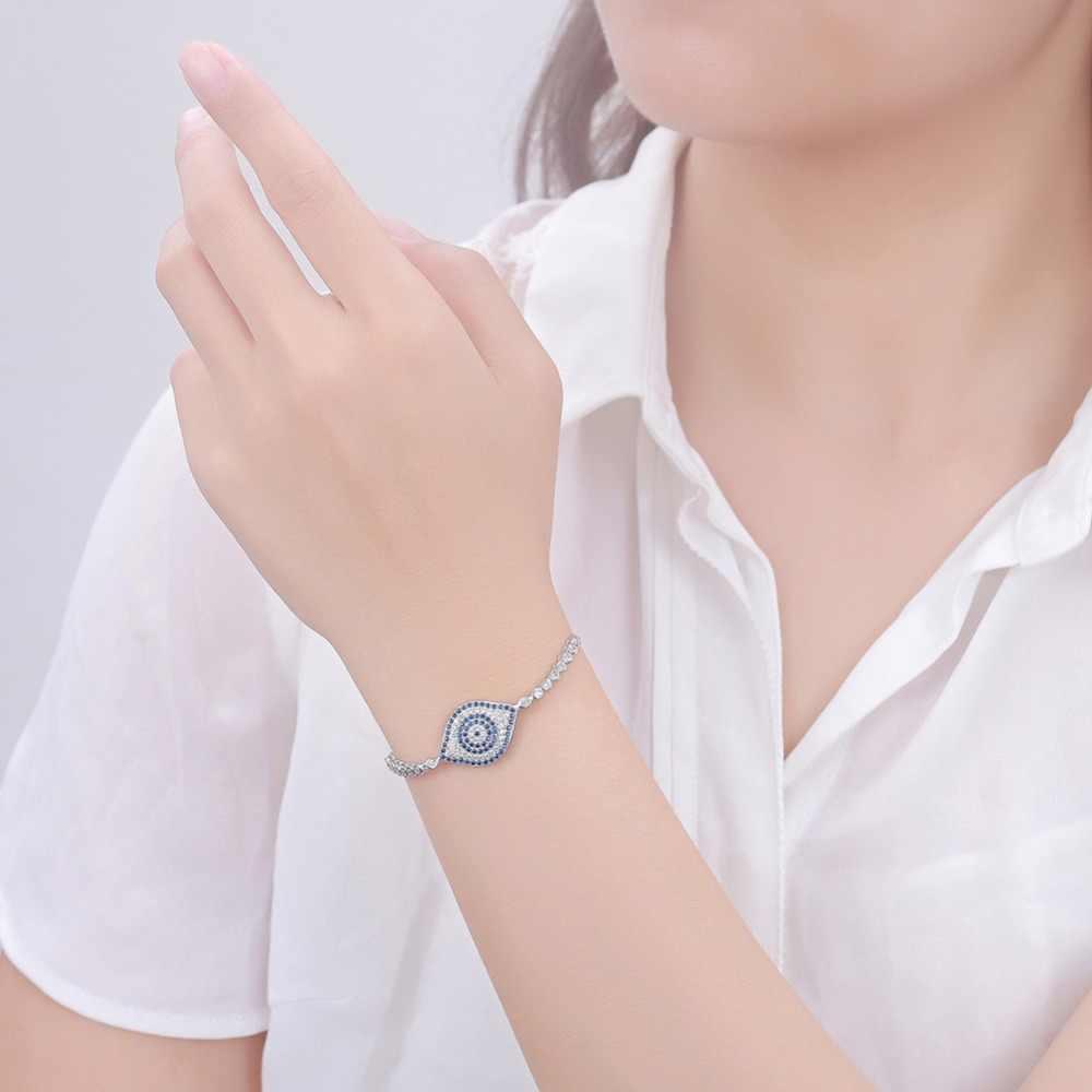 925 Sterling Argent Or Blanc Couleur Bracelet Cristaux De Luxe CZ Femmes Bijoux Evil Eye Hamsa Charme Bracelets