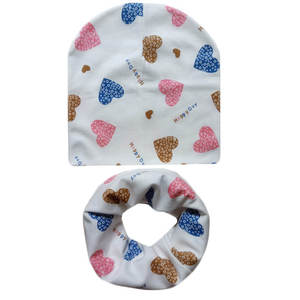 Baby Hat Scarf-Set Newborn Love-Print Kids Children Collar Cotton for Girl Boy Ice-Cream