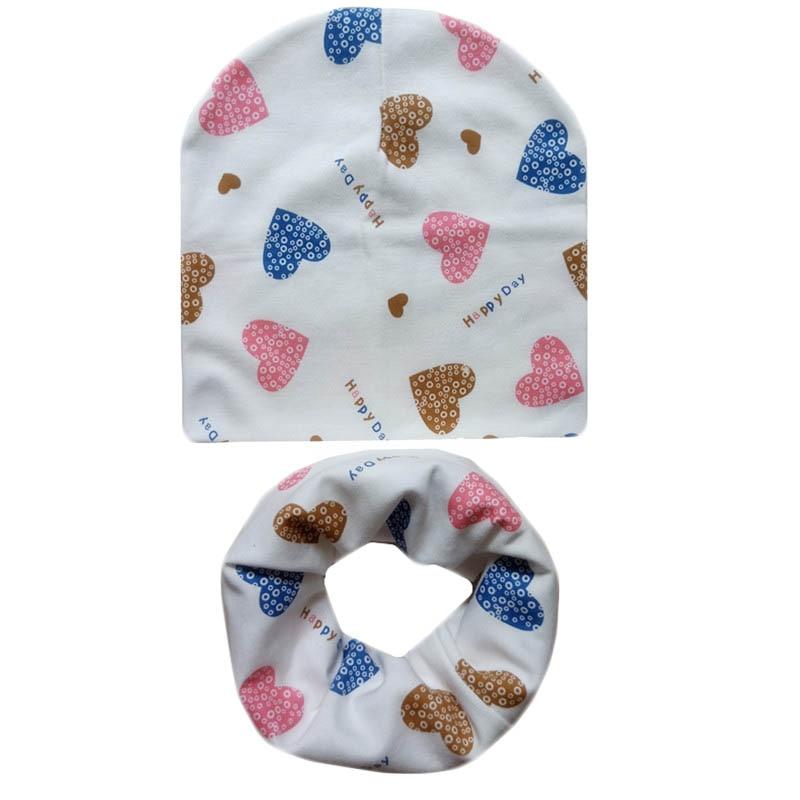 Cotton Baby Hat Scarf Set Ice Cream Love Print Cotton Cap Child Hats Newborn Hat Children Scarf Collar Kids Cap Set For Girl Boy