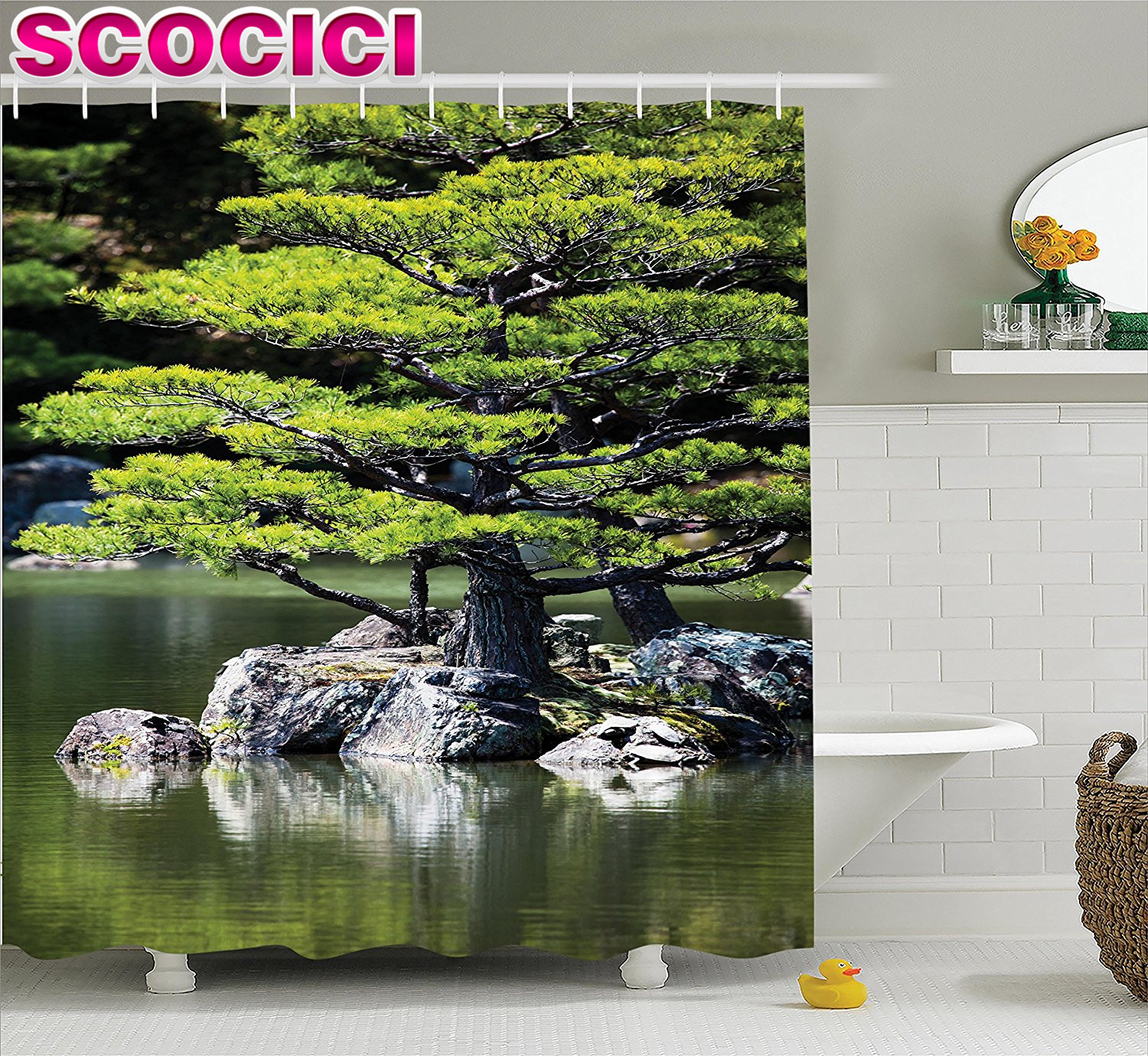 japanese decor shower curtain set pine tree in the lake with stones japanese organic nature scenery