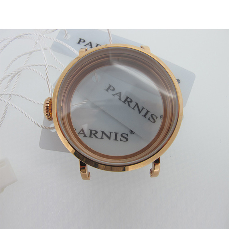 46mm Rose Gold Polished PVD Stainless Steel Watch Case fit 6498 6497 Movement,Watch Part Case with Mineral Crystal Glass