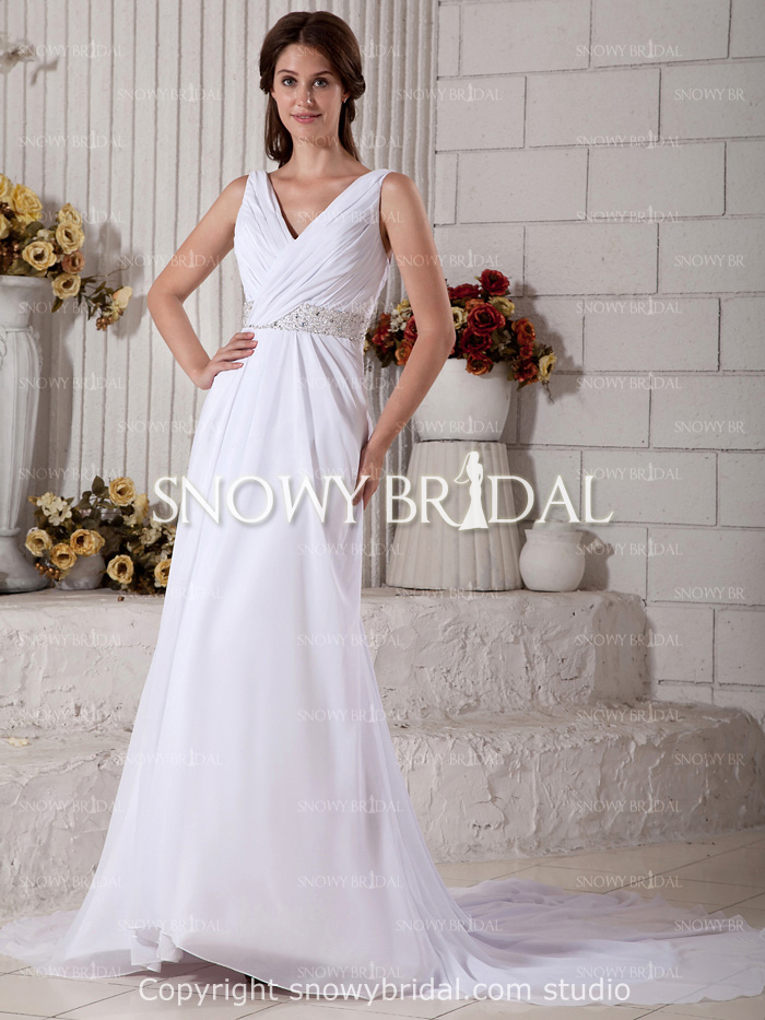 Free Shipping Discount Sale Long White Wedding Dress Cheap Clearance