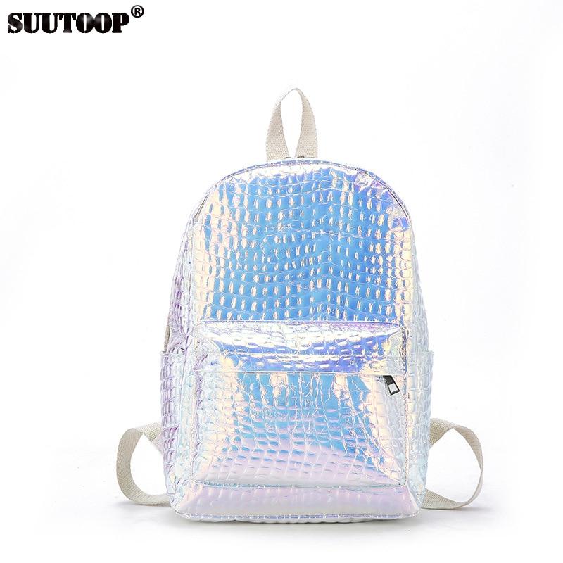 New Fashion Women Bag Female PU Leather Backpack Laser Feminina Schoolbag Teenager Holographic School Travel Pack 2019