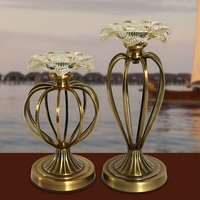 2pcs Set Eurpean Vintage Restaurant Bedroom Living Room Glass Metal Candle Holders Wedding Home Decoration Flower
