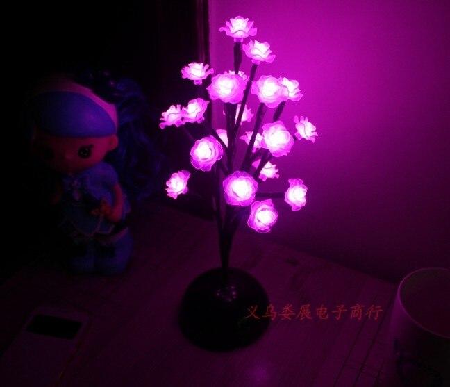 Dynamisch 9pig Höhe Kunststoff Baum Rosa Rose Blume Nacht Lampe Nacht Licht Balkon Terrasse Weihnachten Hochzeit Party Rasen Garten Leucht Eine GroßE Auswahl An Waren
