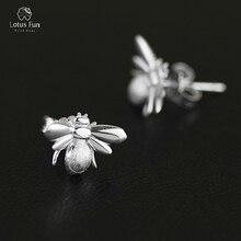 Lotus весело Настоящее Твердые стерлингового серебра 925 Серьги-гвоздики для Для женщин Симпатичные Би пчелы Пронзительный колошения Красивые ювелирные изделия дропшиппинг