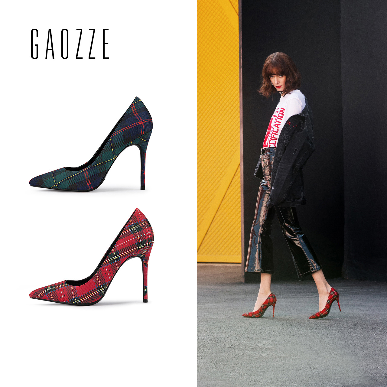 GAOZZE Fashion Pointed Toe Sexy High Heel Pumps For Women Plaid Cloth Sexy Social Party Shoes Classic Office 2018 Spring New
