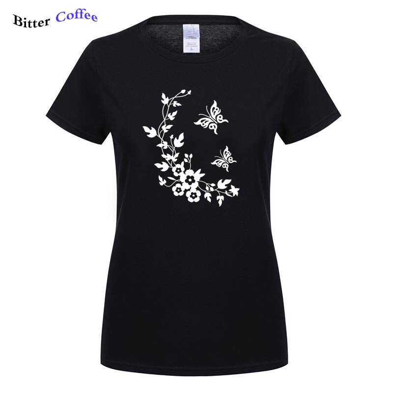 2019 Butterfly T shirt Women Casual Summer Fashion T shirts Cotton Womens tops Vintage Black White T shirt Women Free shipping in T Shirts from Women 39 s Clothing