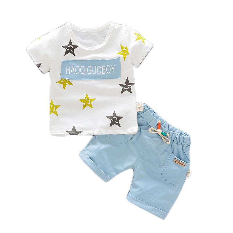 Cotton Boys Suits 2017 Summer New Casual Children Clothing Set for Boys Star Pattern T-shirts Shorts 2pcs Kids Clothes new 2016 summer cartoon children clothing set plaid kids shorts t shirts 2pcs boys sport suit set fit for 2 7year y01