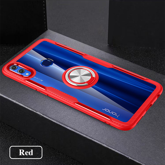 For Honor 8x Case Magnetic Car Holder Finger Ring Cover Case For Honor 20 Pro 8x Max Play 8s 10 Lite 20i V20 Transparent Case