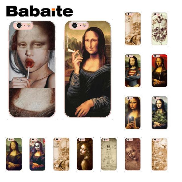 Babaite Leonardo da Vinci kunstwerk Und Mona Lisa Muster Weichen Handy Fall für iPhone 6 s 6 plus 7 7 plus 8 8 Plus X Xs MAX 5 5 s XR 10