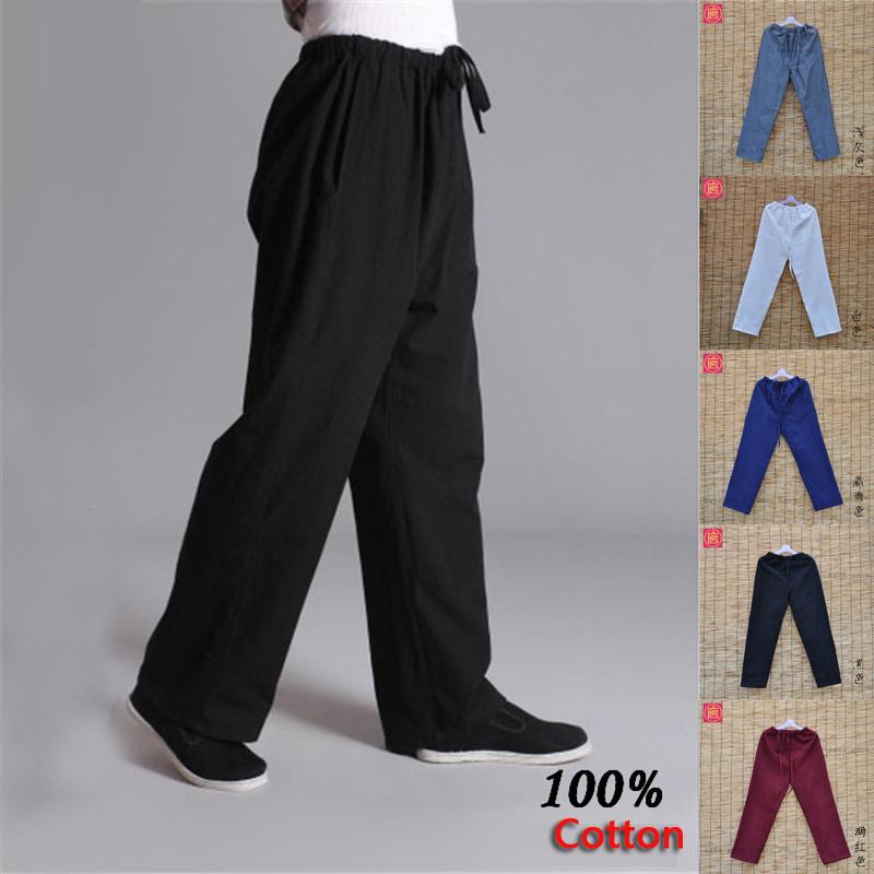 Prix pour Pur coton kung fu sport pantalon pratique vieux-grossier mâle tang-costume respirant pantalon Chinois traditiona tai chi loisirs pantalon