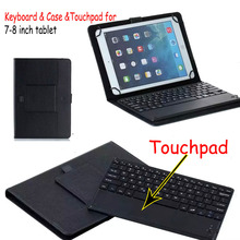 Universal Dechatable Bluetooth Keyboard w/ Touchpad & PU Leather Case Cover For Dell Venue 8 Pro 3845 5830