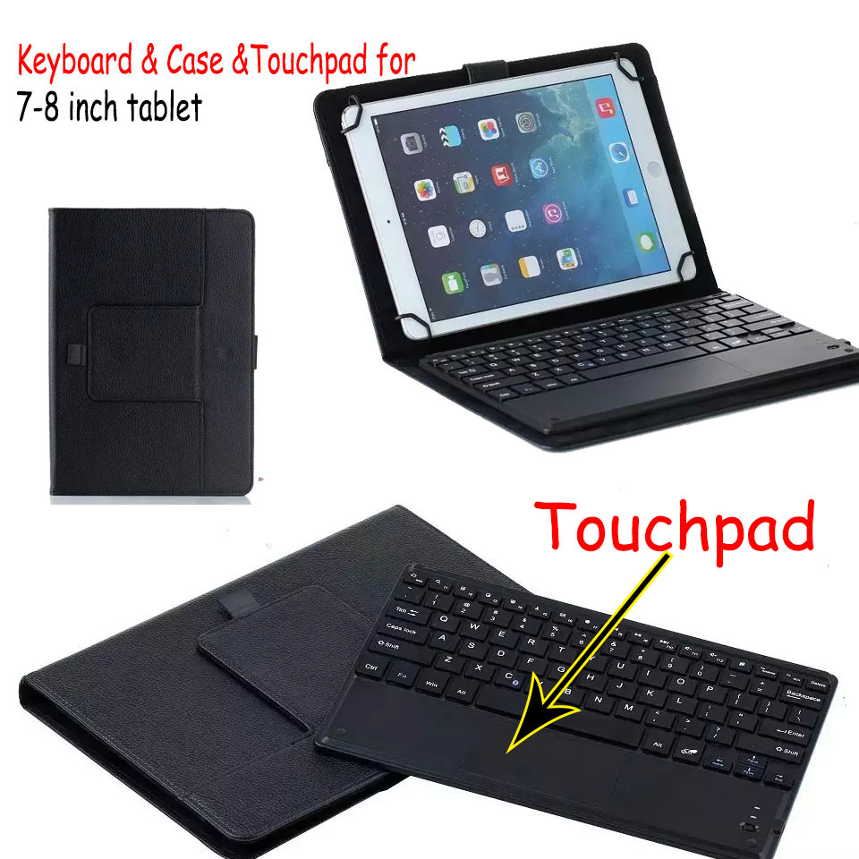 Universal Dechatable Bluetooth Keyboard w/ Touchpad & PU Leather Case Cover For Dell Venue 8 Pro 3845 5830 universal 61 key bluetooth keyboard w pu leather case for 7 8 tablet pc black