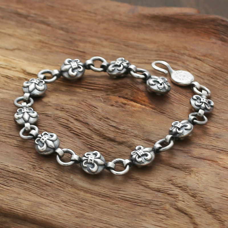 3db1f7ed416570 S925 wholesale sterling silver jewelry silver star with a Korean man silver  Lily retro Ball Bracelet-in ID Bracelets from Jewelry & Accessories