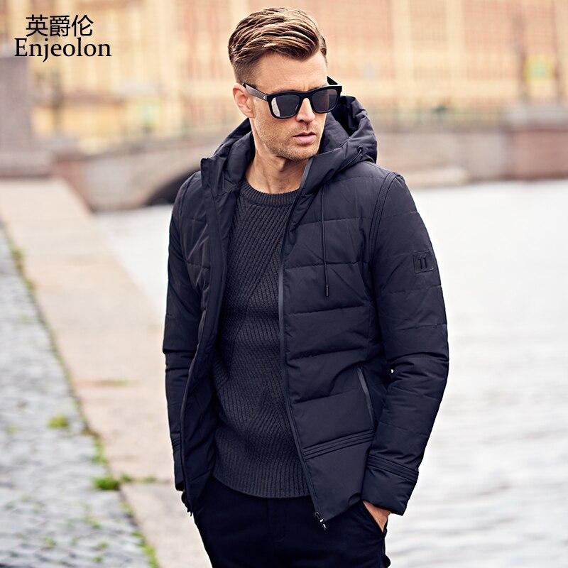 Enjeolon Marque hiver hoodies Coton Rembourré Veste Hommes Coupe-Vent Parka homme Épais Matelassé puls taille 3XL Manteau Hommes MF0008