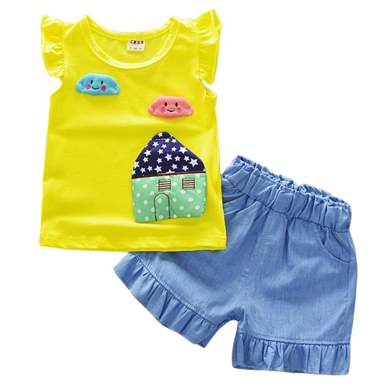 Summer New High Quality Baby Girl Sets With Sleeveless And Cute Cartoon Print Comfortable For Dressing O-Neck