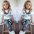 Nuevo 2015 muchachas del verano y el otoño de la ropa Del Bebé Niñas Raya I Desperté Como Esta camisa y Pantalones de Niño Trajes Set 2 ~ 7Y