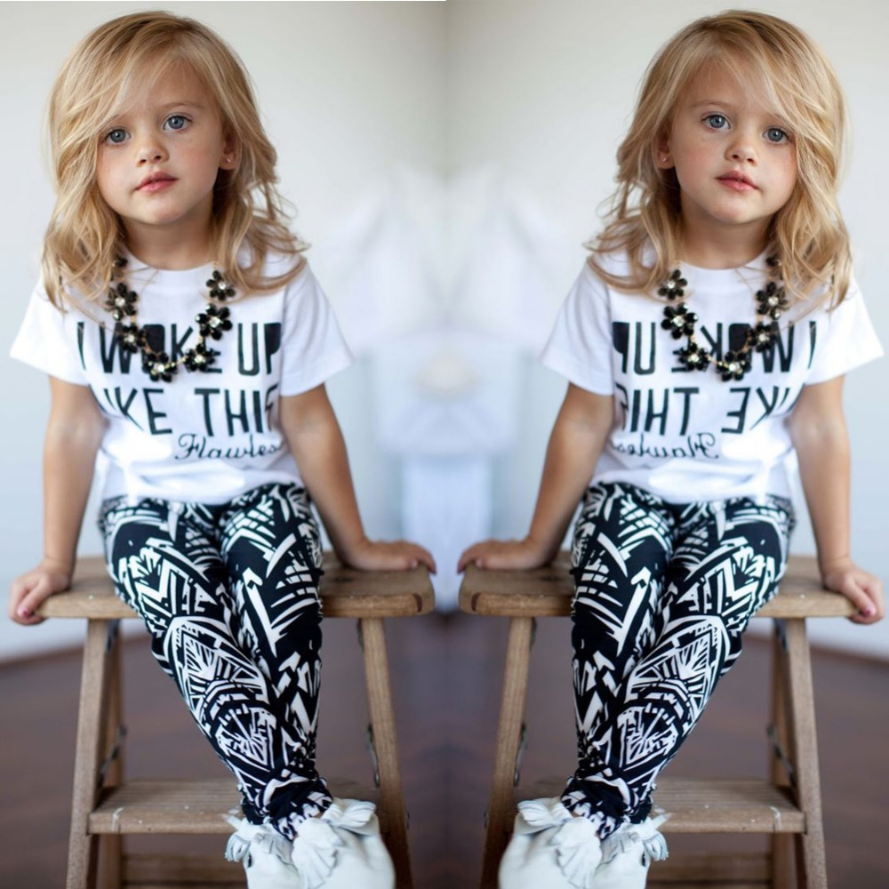 new 2015 girls summer and autumn clothing set Baby Girls Stripe I Woke Up Like This Toddler shirt and Pants Outfits Set 2 ~ 7Y girls boys clothes sets 2pcs i woke up like this flawless striped t shirt legging pants black 2pcs clothing outfits summer 2016