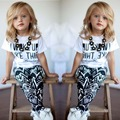 new 2015 girls summer and autumn clothing set Baby Girls Stripe I Woke Up Like This Toddler shirt and Pants Outfits Set 2 ~ 7Y
