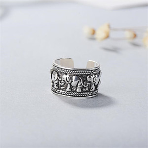 New Creative Beautiful Retro Animal 925 Sterling Silver Jewelry Personality Ethnic Style Elephant Group Opening Rings SR439