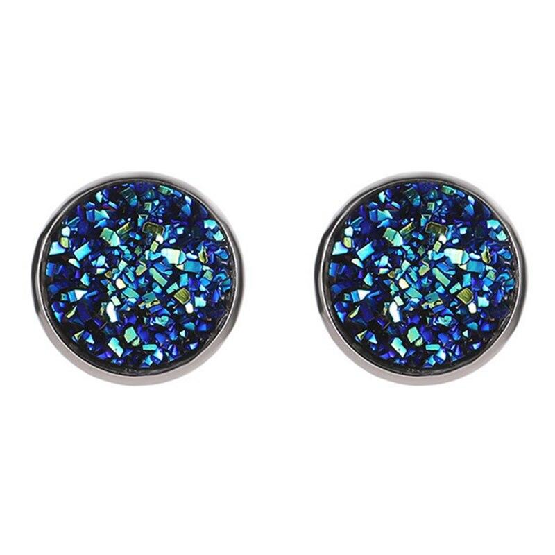 New Vintage Imitation Stone Round Gypsophila Crystal Stud Earring 10 Colors Hypoallergenic Engagement Wedding Stud Earrings