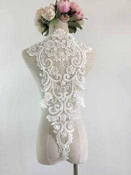 10pieces ivory Lace Applique, embroidered bodice lace applique, bead cord lace applique, heavy bead alencon lace bodice applique фото