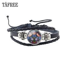 TAFREE Retro Birds Leather Bracelet Adjustable Black Braided Cord Animal Charm Glass Cabochon Bangles Chain Bp01