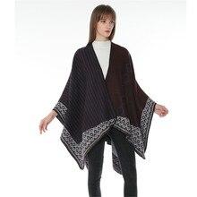 TOLINA Retro style Women Knitted Cashmere Poncho Capes Shawl Cardigans Sweater Coat