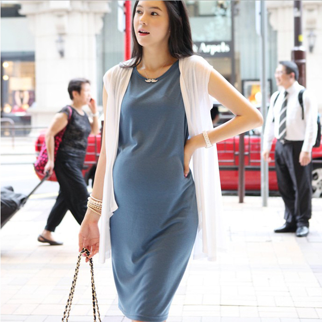 Freesize maternity dresses elastic maternity clothes 2pcs white cardigan with dark blue elegant pregnant dresses summer sale