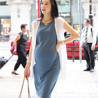 Freesize Maternity Dresses Elastic Maternity Clothes 2pcs White Cardigan With Dark Blue Elegant Pregnant Long Dress
