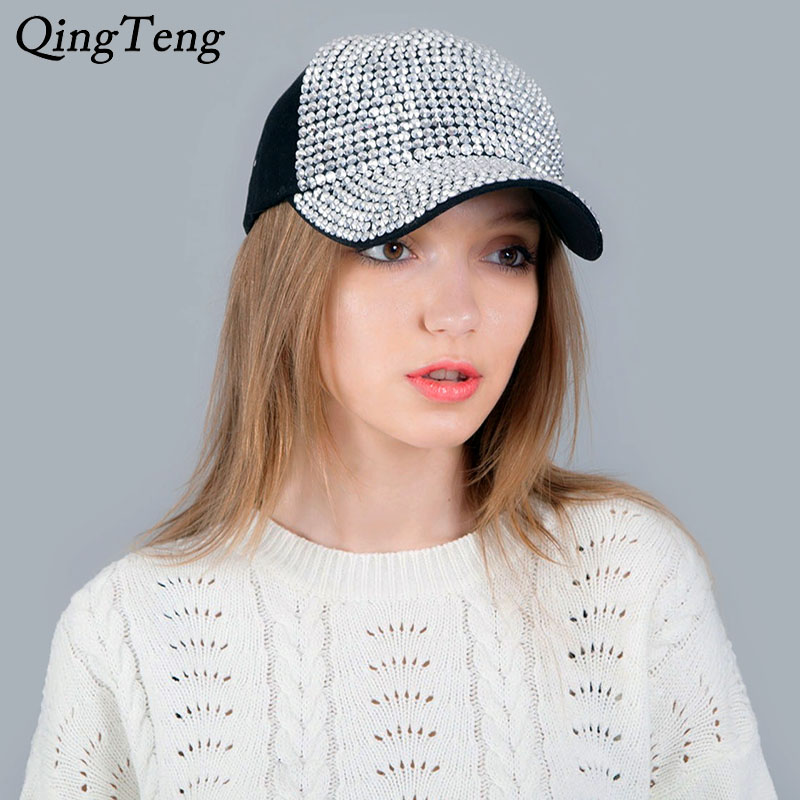 Baseball     Cap   With Rhinestones Bling Luxury Women'S   Cap   Summer Casual Mesh Sun Visor Hat Adjustable Hip Hop Casquette Femme