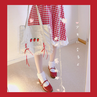 Princess Sweet Lolita Bag Strawberry Wrapped Ribbons Summer Japanese Embroidery Patterns Retro Soft Sister Canvas Bag