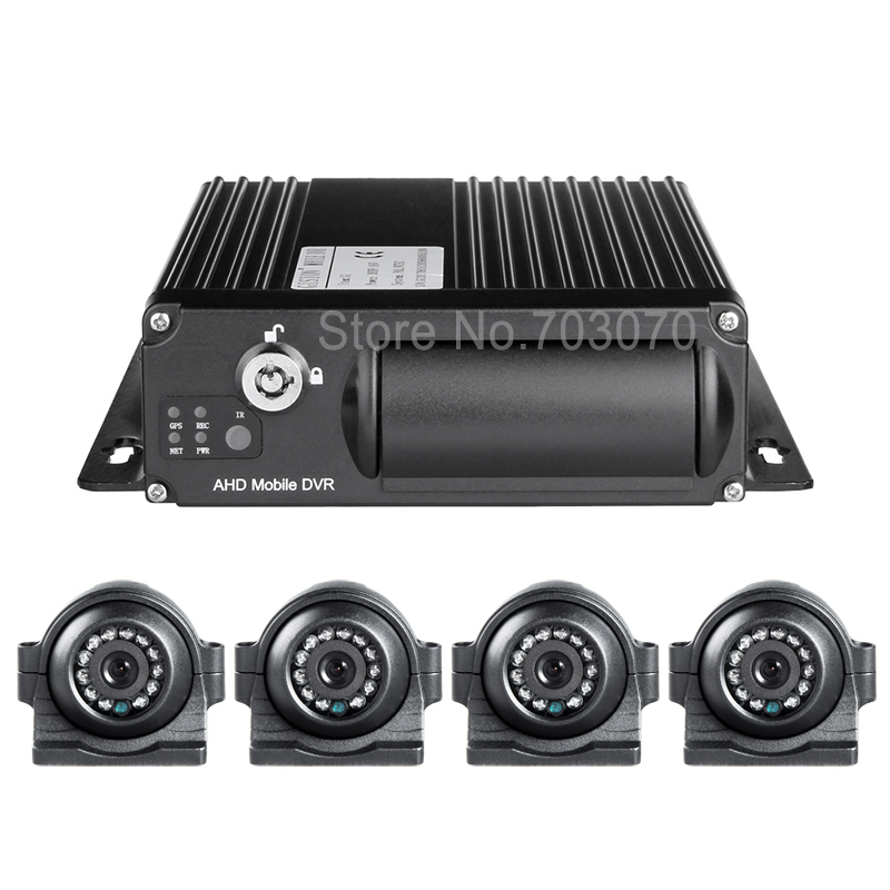 4Pcs Bus Side/Front /left Night Vision IR 2.0MP AHD Car Camera +1080 4G GPS Mobile Dvr Real Time Monitoring AHD Car Dvr Kits