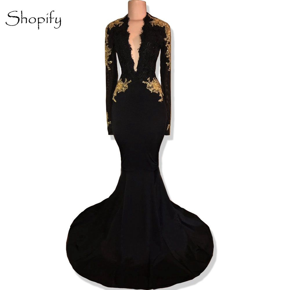 Long Sleeve Prom Dresses 2019 Gorgeous V-neck Mermaid Backless Lace African Black Satin Prom Dress(China)