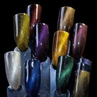 12 pcs Cat Eye Aimant Nail Poudre Scintillant Galaxy Ciel Style Magnétique Chrome Glitter Poussière Gel UV Manucure Nail Art Pigment