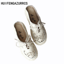 HUIFENGAZURRCS-Genuine leather shoes,Literary and art cotton the lace slippers, casual soft bottom Baotou flat bottom slippers