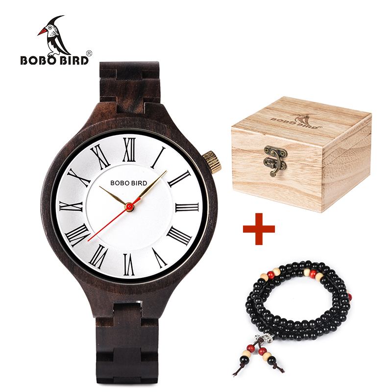 BOBO BIRD Women Wooden Watches Top Brand Luxury Design Wood Strap Quartz Wristwatches Timepieces With Box Gift Beads Bracelet