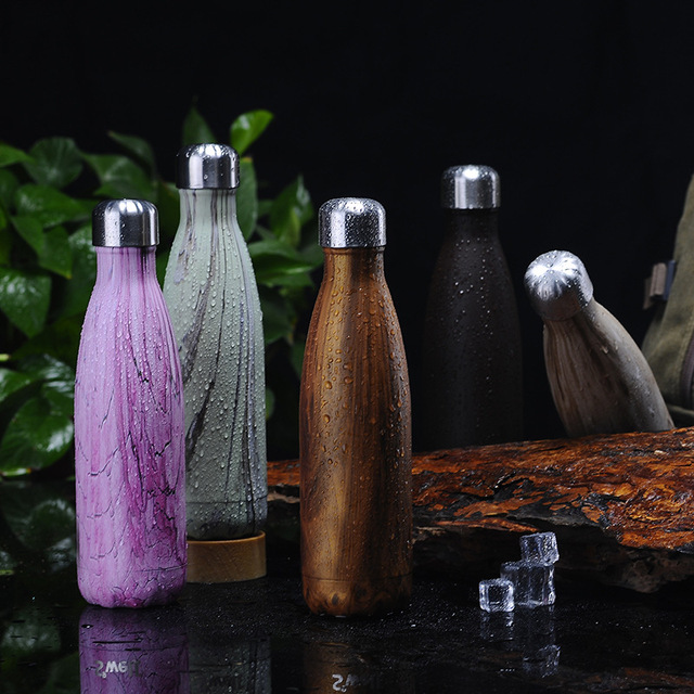 Planet Friendly Portable Marble Patterned Stainless Steel Water Bottle