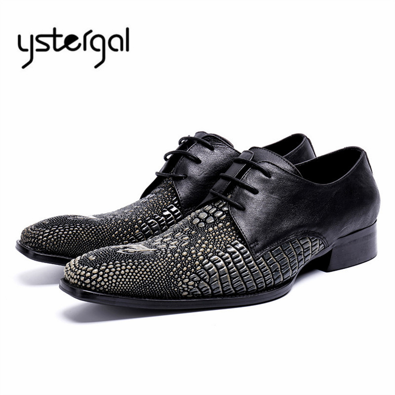 YSTERGAL Black Men Wedding Dress Shoes Genuine Leather Fashion Mens Formal Oxford Shoes Lace Up Pointed Toe Flat Chaussure Homme black white genuine leather mens dress shoes fashion pointed toe oxford shoes for men formal shoes business lace up high heels