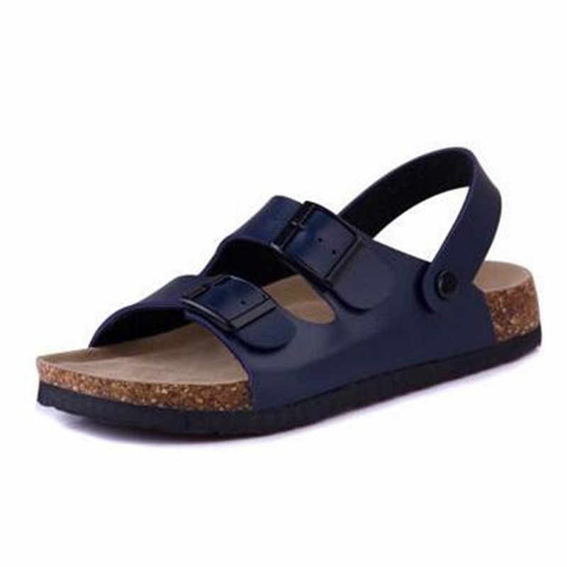 Fashion Double Buckle Cork Sandals Flats 2019 New Men Summer Beach Patchwork Casual Slipper Shoe Plus Size 35-43 black brown