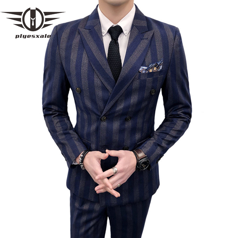 Men Double Breasted Suit 3 Pieces Men Striped Suits Slim Fit Navy Blue Burgundy Wedding Costume Homme Luxe Party Prom Wear Q99