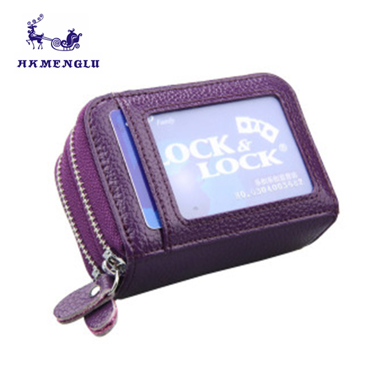 Ladies Fashion RFID Cards Wallet Genuine Leather Women Credit Card Holder Double Zipper Women Coin Wallets Business Card Holder westcreek brand men women genuine leather rfid zipper credit card holder passport travel wallet coin purse business cards holder