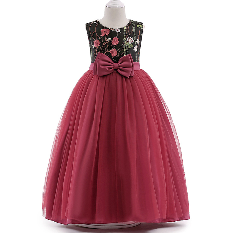 Retail High Quality Embroidery Floral Teenage   Flower     Girl     Dresses   Claret Red Long Gown Formal Party Prom   Dress   LP-75