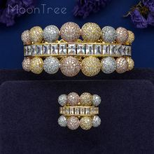 MoonTree Luxury Ball Connected  Full Mirco Paved Microl Zirconia Geometry   Design Women Bracelet Bangle Ring Set Dress Jewelry