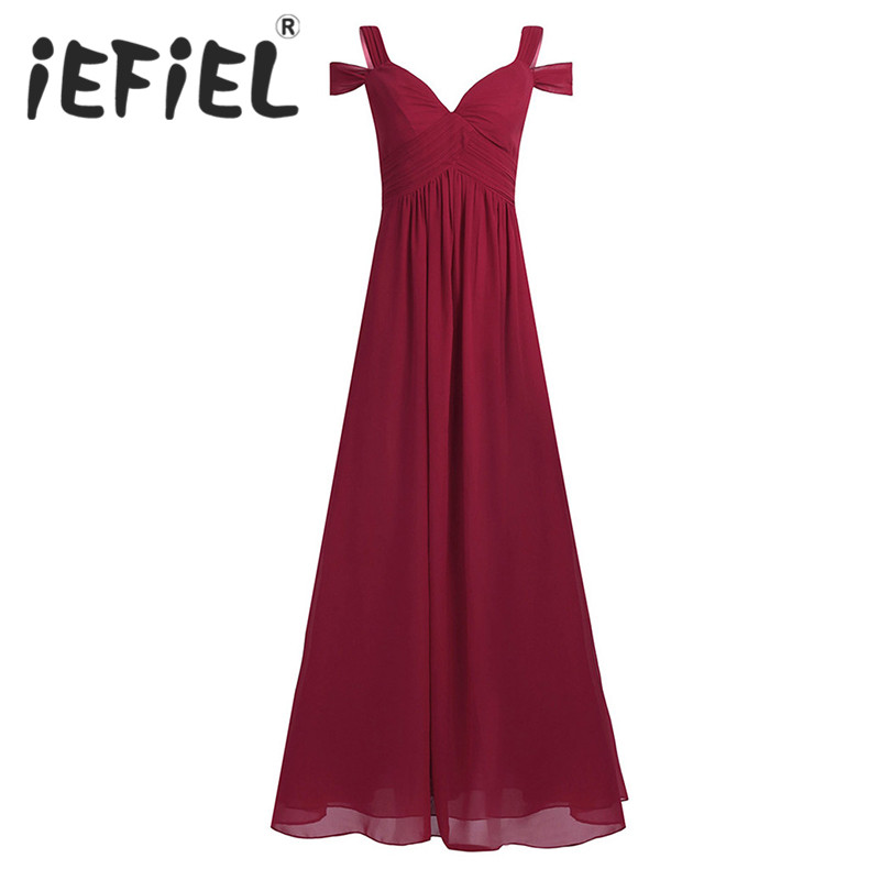 iEFiEL Women Ladies Chiffon Maxi Full Length Dress Off-The-Shoulder Side Split Bridesmaid Wedding Summer Prom Formal Party Dress