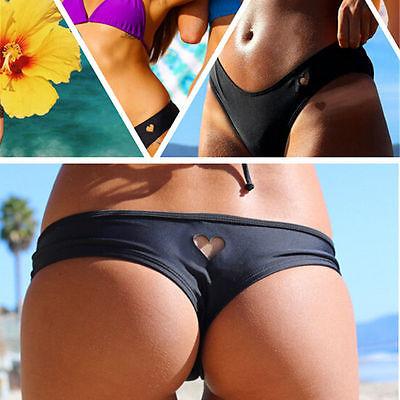 Womens Girls Sexy Bikini Bottom heart pattern  Swimwear Brazilian Thong Heart Cut Out Bottoms Платье