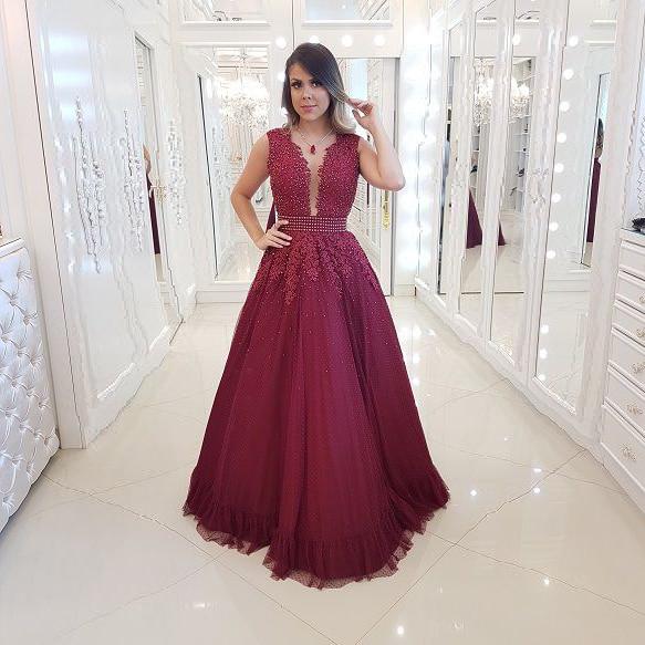 Alexzendra Burgundy A Line Long Prom Dresses 2019 Pearls Applique Formal Evening Dress Plus Size Party