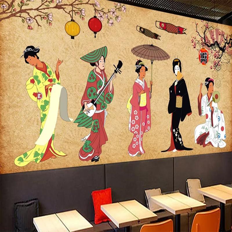 Custom Wallpaper Waterproof Wall Cloth 3D Japanese Retro Character Ladies Mural Living Room Bedroom Restaurant Sushi Decorative
